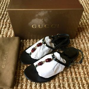 Authentic Gucci Bamboo T-Strap Thong Sandals